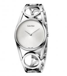 Silver Round Silver Dial Watch
