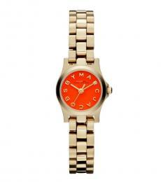 Rose Gold Orange Dial Watch