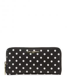 Black Polka-Dot Continental Zip Wallet