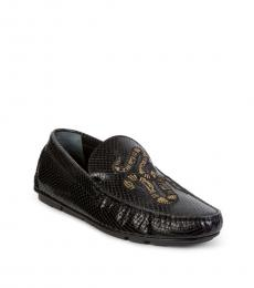 Black Embroidered Logo Loafers