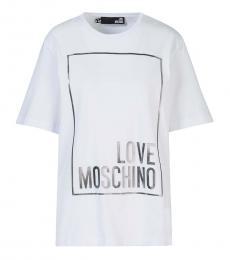 Love Moschino White Classic Logo T-Shirt