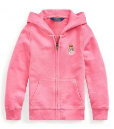 Ralph Lauren Little Girls Baja Pink Madras Bear Terry Hoodie