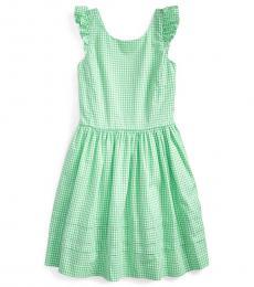 Girls Green Multi Gingham Poplin Dress