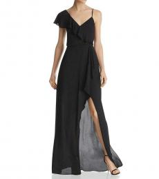 BCBGMaxazria Black Wrap Ruffled Evening Dress