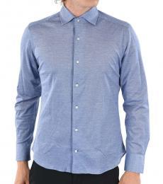 Blue Spread Collar Pin Point Shirt