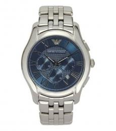 Emporio Armani Silver Navy Blue Logo Watch