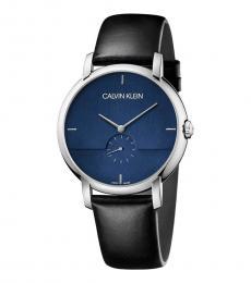 Calvin Klein Black Blue Dial Logo Watch