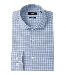 Hugo Boss Blue Jason Check Slim Fit Dress Shirt