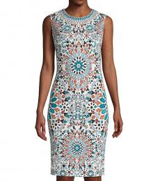 Roberto Cavalli White Green Floral Sheath Dress