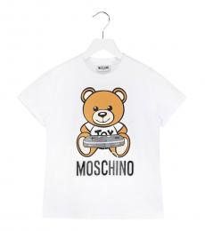 Moschino Little Girls White Logo T-Shirt