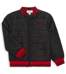 True Religion Little Boys Black Patch Logo Quilted Bomber Jacket