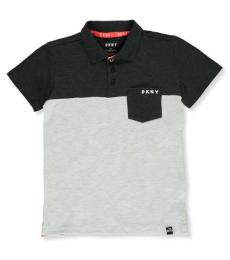 DKNY Boys Black Heather Color Block Pique Polo
