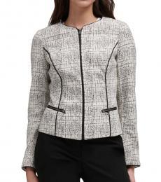DKNY Ivory/Black Contrast Trim Printed Jacket