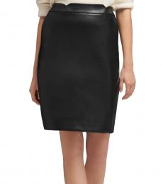 DKNY Black Faux Leather Pencil Skirt