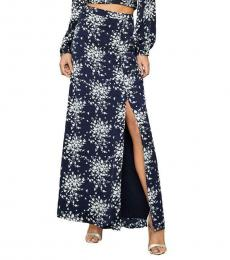 BCBGMaxazria Pacific Blue Floral Satin Floral Side Slit Maxi Skirt