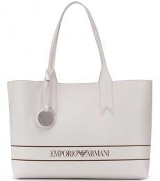 Emporio Armani White Logo Large Tote