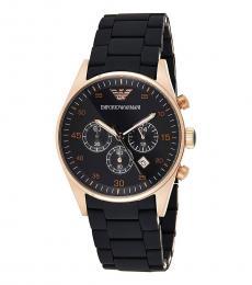 Emporio Armani Black-Gold Chronograph Watch