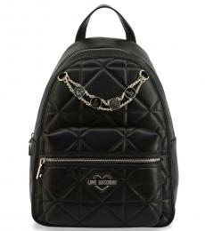 Love Moschino Black Quilted Large Backpack