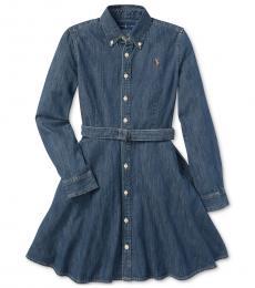 Ralph Lauren Little Girls Indigo Denim Cotton Shirtdress