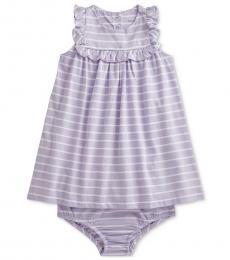 Ralph Lauren Baby Girls Flower Purple Cotton Dress