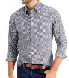 Michael Kors Grey Slim-Fit Tossed Logo-Print Shirt