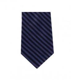 Michael Kors Blue Streamline Striped Slim Silk Tie