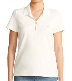Calvin Klein Soft White Zip-Front Polo Tee