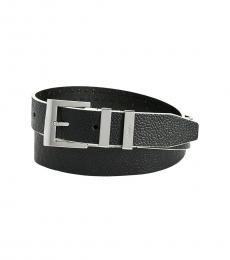 DKNY Black Double-Keeper Pebble Belt