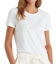 Ralph Lauren White Logo Cotton-Blend Tee