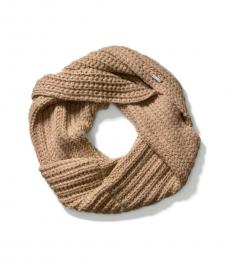 Beige Cable Knit Twisted Cowl Scarf