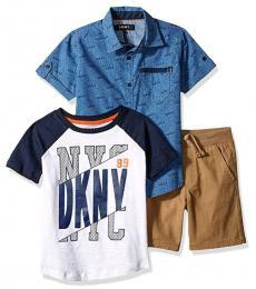 DKNY 3 Piece Shirt/T-Shirt/Shorts Set (Little Boys)
