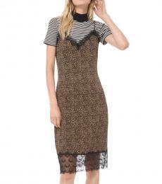 Michael Kors Brown Mini Leopard Slip Dress
