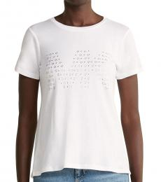 Michael Kors White Mixed Stud Logo Tee