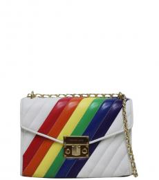 Michael Kors White Rainbow Rose Medium Shoulder Bag