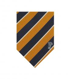 Versace Navy Yellow Stripe Tie