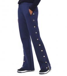Michael Kors Navy Blue Logo Tape Buttoned Track Pants