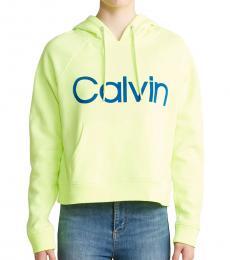 Calvin Klein Lime Neon Flocked Logo Hoodie