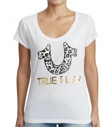 True Religion White Gold Foil V-Neck Tee