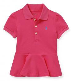 Ralph Lauren Baby Girls Pink Peplum Polo