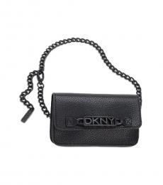 DKNY Black Logo Chain Belt Bag