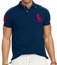 Ralph Lauren Navy Red Big Pony Custom Fit Polo