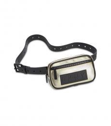 DKNY Metallic Gold Twill Belt Bag