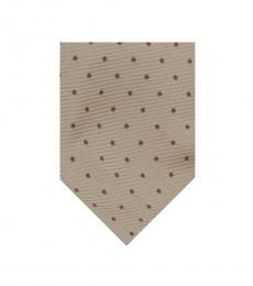 Cream Beige Dotted Wide Tie