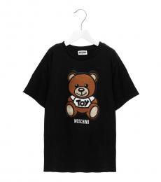 Moschino Little Girls Black Teddy Patch T-Shirt