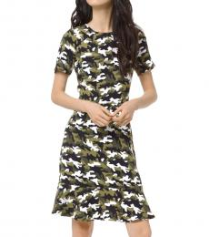 Michael Kors Camo Print Flounce Dress