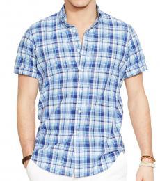 Navy Plaid Short Sleeves Shirt