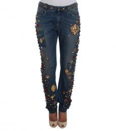 Dolce & Gabbana Blue Roses Hearts Embellished Jeans