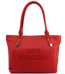 Love Moschino Red Made With Love Large Tote