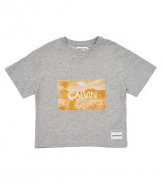 Calvin Klein Girls Grey Photo Print T-Shirt