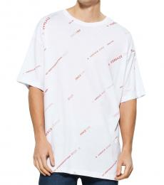 White Allover Logo Print Short Sleeve Tee